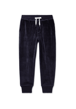 AMI - Tapered Cotton-blend Velour Sweatpants - Navy