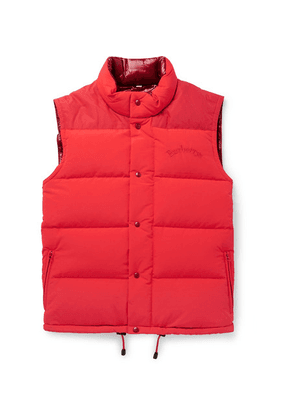Burberry - Slim-fit Logo-embroidered Quilted Nylon Down Gilet - Red
