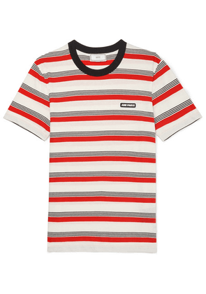 AMI - Logo-appliquéd Striped Cotton-jersey T-shirt - Red