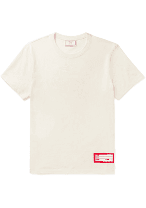 AMI - Logo-appliquéd Cotton-jersey T-shirt - Cream
