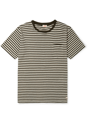 Armor Lux - Héritage Striped Cotton And Linen-blend T-shirt - Dark green