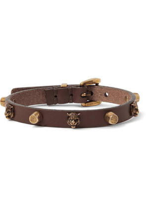 Gucci - Studded Leather And Gold-tone Bracelet - Brown
