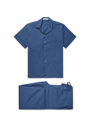 Cleverly Laundry - Washed-cotton Pyjama Set - Storm blue