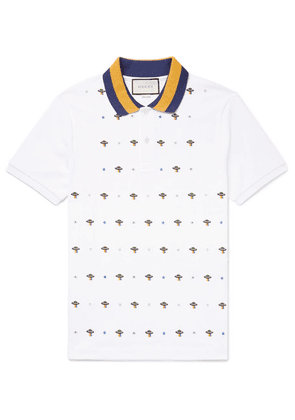 Gucci - Slim-fit Ufo-embroidered Stretch-cotton Piqué Polo Shirt - White