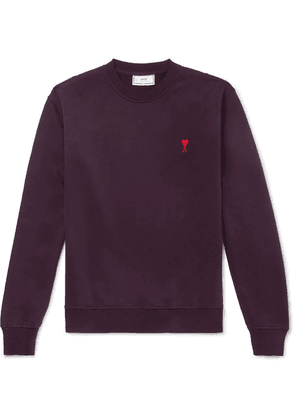 AMI - Logo-embroidered Loopback Cotton-jersey Sweatshirt - Burgundy