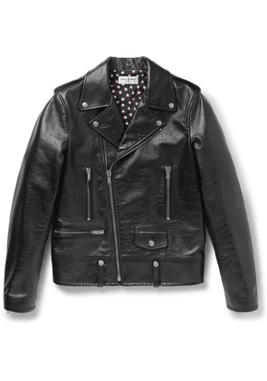 Saint Laurent - Full-grain Leather Biker Jacket - Black