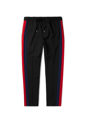Gucci - Tapered Striped Wool And Mohair-blend Twill Drawstring Trousers - Black