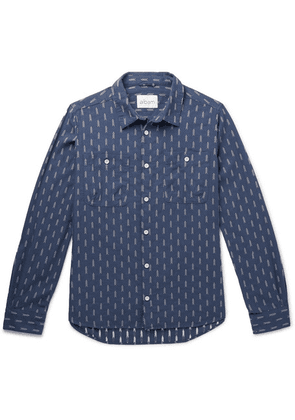 Albam - Embroidered Cotton-chambray Shirt - Dark denim