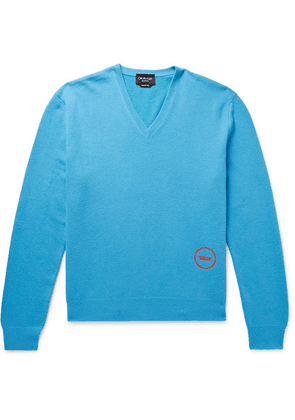 CALVIN KLEIN 205W39NYC - Logo-embroidered Wool And Cotton-blend Sweater - Blue