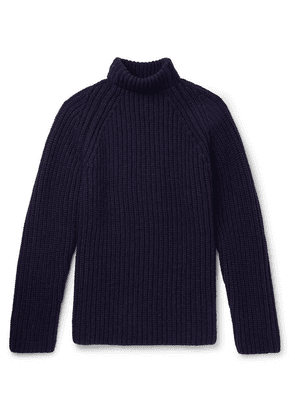Albam - Ribbed Wool Mock-neck Sweater - Navy