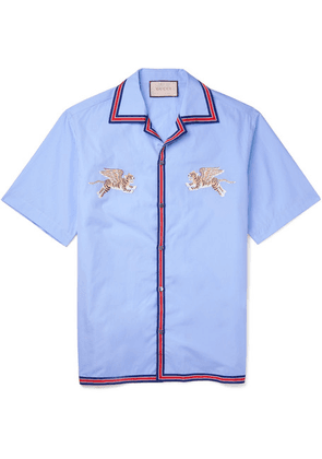 Gucci - Camp-collar Embroidered Cotton Shirt - Light blue
