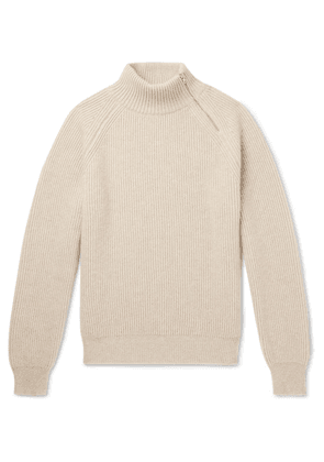 Connolly - Zip-detailed Ribbed Cashmere Mock-neck Sweater - Beige