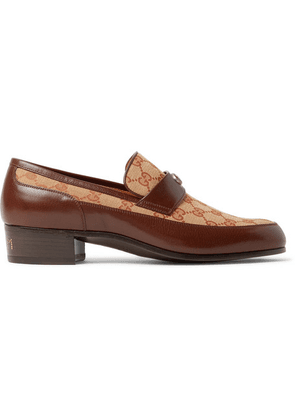 Gucci - Printed Monogrammed Coated-canvas And Leather Loafers - Brown