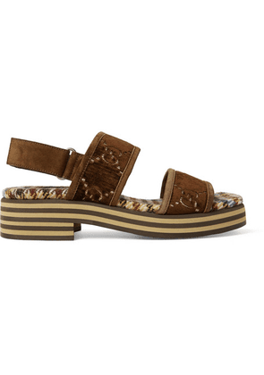 Gucci - Suede-trimmed Logo-embroidered Velvet Sandals - Dark brown