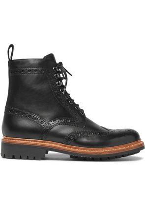 Grenson - Fred Leather Brogue Boots - Black