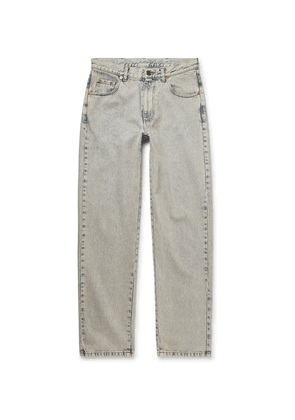 Gucci - Cropped Printed Washed-denim Jeans - Light blue