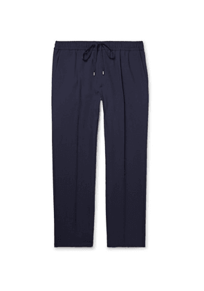 Gucci - Navy Cropped Wool Drawstring Trousers - Navy