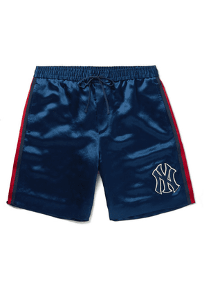 Gucci - + New York Yankees Appliquéd Satin Shorts - Blue