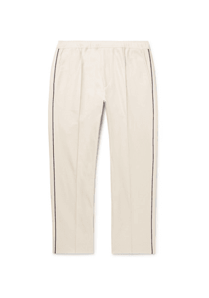 Gucci - Slim-fit Cropped Piped Cotton-piqué Drawstring Trousers - Beige