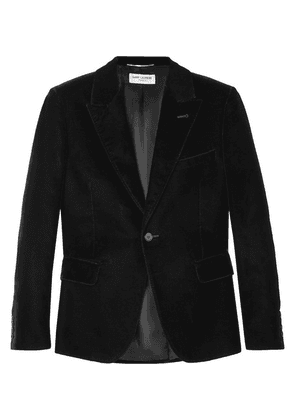 Saint Laurent - Black Slim-fit Velvet Blazer - Black