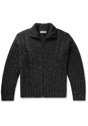 Burberry - Cable-knit Mélange Cashmere, Wool And Mohair-blend Zip-up Cardigan - Charcoal