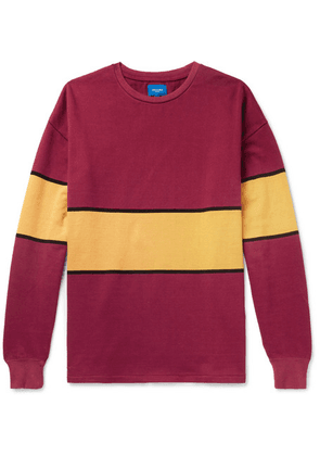 Beams - Striped Cotton-jersey T-shirt - Red