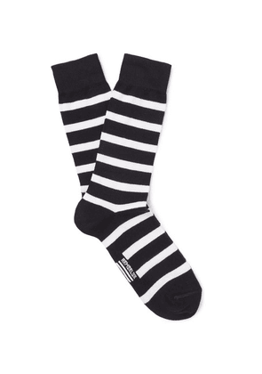 Armor Lux - Striped Stretch Cotton-blend Socks - Midnight blue