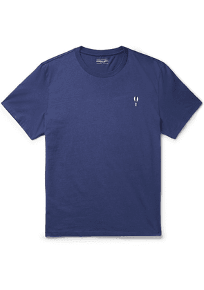 Frescobol Carioca - Printed Embroidered Cotton-jersey T-shirt - Navy