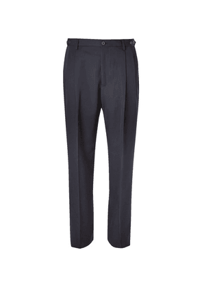 Lanvin - Navy Tapered Pleated Virgin Wool Trousers - Navy