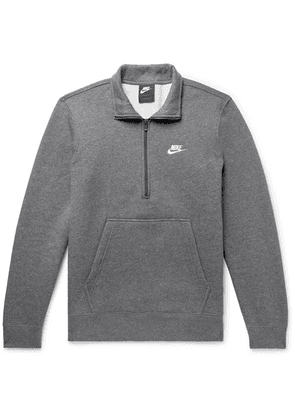 Nike - Sportswear Mélange Fleece-back Cotton-blend Half-zip Sweatshirt - Gray