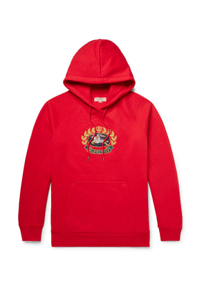 Burberry - Logo-embroidered Fleece-back Cotton-blend Jersey Hoodie - Red