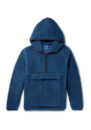 Beams - Fleece Hooded Half-zip Sweater - Blue