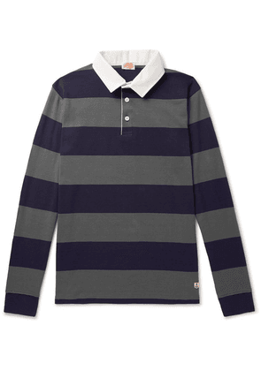 Armor Lux - Striped Cotton-jersey Polo Shirt - Gray