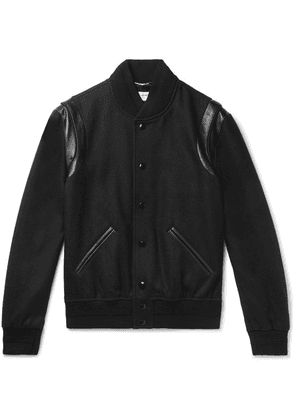 Saint Laurent - Teddy Leather-trimmed Wool Bomber Jacket - Black