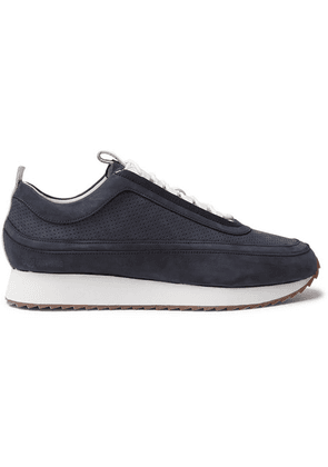 Grenson - Perforated Nubuck And Leather Sneakers - Navy