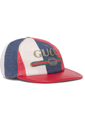 Gucci - Leather-trimmed Linen Baseball Cap - Red