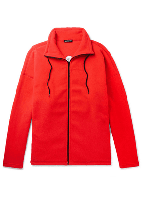 Balenciaga - Oversized Logo-embroidered Fleece Zip-up Sweater - Red