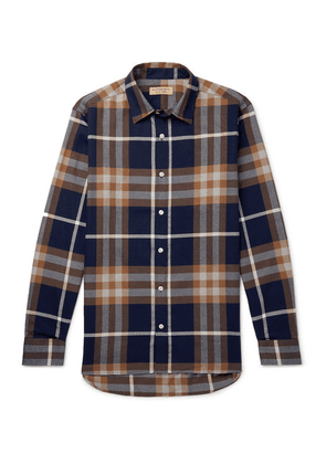 Burberry - Checked Cotton-flannel Shirt - Navy