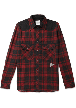 And Wander - Shell-panelled Checked Wool-blend Shirt - Red