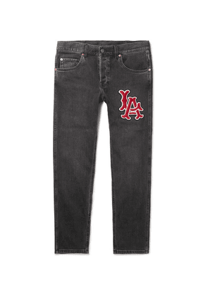 Gucci - + Los Angeles Angels Tapered Appliquéd Washed Stretch-denim Jeans - Black