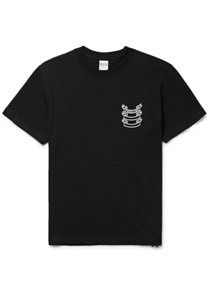 Blackmeans - Slim-fit Printed Cotton-jersey T-shirt - Black