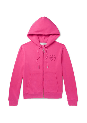 Off-White - Embellished Loopback Cotton-jersey Zip-up Hoodie - Bright pink