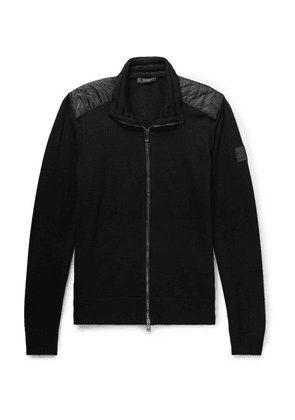 Belstaff - Kelby Slim-fit Quilted Shell-panelled Virgin Wool Zip-up Cardigan - Black