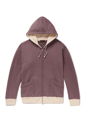 Chimala - Contrast-trimmed Loopback Cotton-jersey Hoodie - Grape