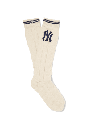 Gucci - + New York Yankees Appliquéd Cable-knit Wool-blend Socks - White