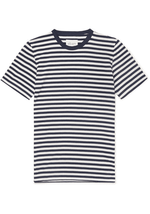 Albam - Striped Cotton-jersey T-shirt - Navy