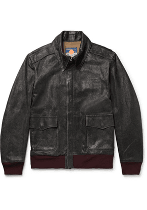 Blackmeans - Distressed Leather Jacket - Black