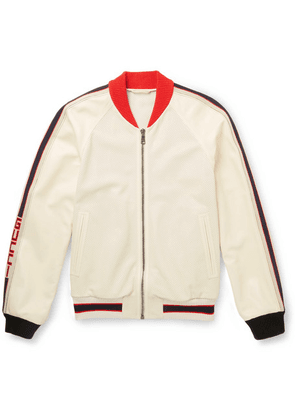 Gucci - Printed Perforated-leather Bomber Jacket - White