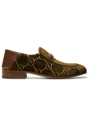 Gucci - Horsebit Collapsible-heel Leather-trimmed Embroidered Velvet Loafers - Army green