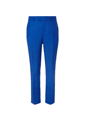 CALVIN KLEIN 205W39NYC - Slim-fit Striped Mohair And Wool-blend Trousers - Blue